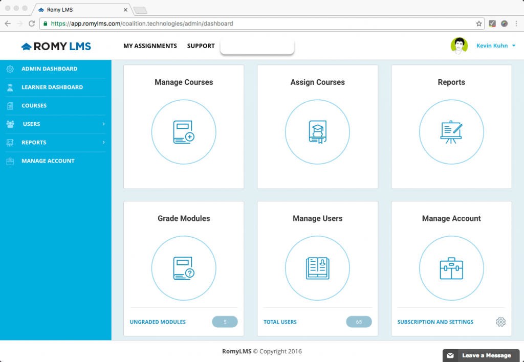 RomyLMS's redesigned admin dashboard
